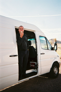 This is a picture from the van's first trip - I picked up two guys on Craigslist and we drove non-stop Dallas to LA in 30 hours.